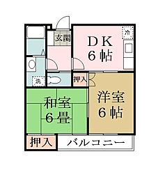 埼玉県草加市青柳6丁目の賃貸アパートの間取り