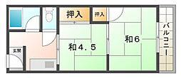 山口ハイツ[3階]の間取り