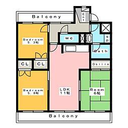 エスペランス池浦 B[3階]の間取り
