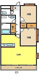 愛知県名古屋市名東区野間町の賃貸マンションの間取り