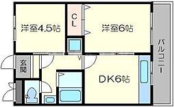 第2吉田屋ハイツ[2階]の間取り