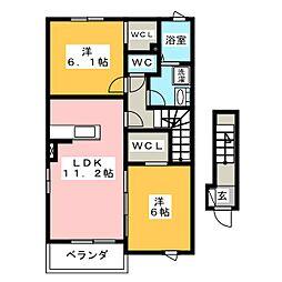 エクセレント13 B[2階]の間取り