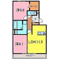 アベニール横山A[2階]の間取り