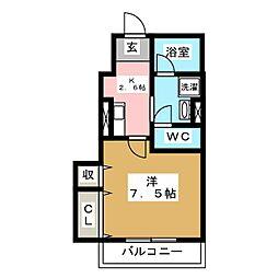 [新築] oblige 新田町 1階1Kの間取り
