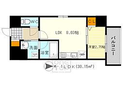 ディームス江坂駅前1 4階1LDKの間取り