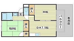 メゾン堀川 B棟[B102号室]の間取り