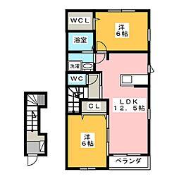 静岡県浜松市中区高丘東3丁目の賃貸アパートの間取り