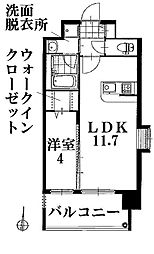 愛知県名古屋市瑞穂区洲雲町2丁目の賃貸マンションの間取り