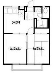 東京都町田市高ケ坂の賃貸アパートの間取り