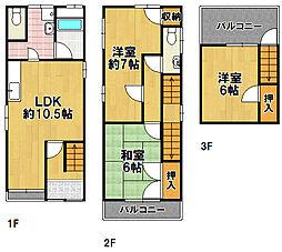 [一戸建] 大阪府大阪市大正区平尾4丁目 の賃貸【/】の間取り
