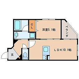 JR東海道本線 静岡駅 徒歩19分の賃貸マンション 5階1LDKの間取り