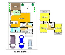貝塚市東山 築浅一戸建 平成24年築 土地53坪 駐車3台可 4LDKの間取り