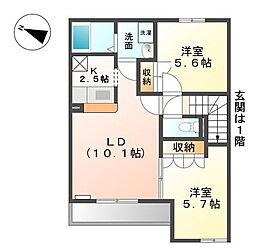静岡県三島市安久の賃貸アパートの間取り