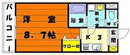 福岡県福岡市東区名島3丁目の賃貸アパートの間取り
