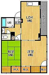 甲東園ハイツ[3B号室号室]の間取り