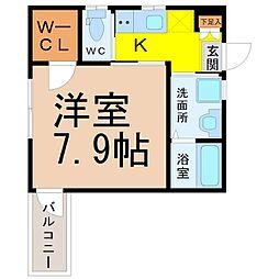 名古屋市営上飯田線 平安通駅 徒歩8分の賃貸アパート 1階1Kの間取り