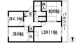 兵庫県宝塚市安倉中6丁目の賃貸アパートの間取り