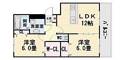 大阪府堺市西区鳳西町1丁の賃貸アパートの間取り