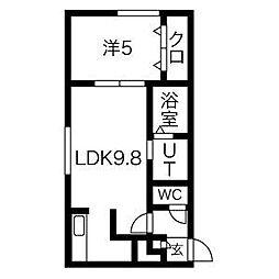 札幌市営南北線 麻生駅 徒歩10分の賃貸マンション 3階1LDKの間取り
