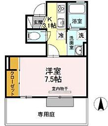 JR吉備線 備前三門駅 徒歩11分の賃貸アパート 1階1Kの間取り