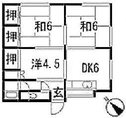 浅野荘[201号室]の間取り
