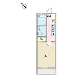 カーサミーア新松戸 2階1Kの間取り