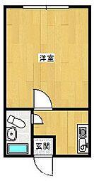 豊岡市正法寺 ヒルズアベニューさくら 2階1Kの間取り