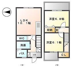 [テラスハウス] 愛知県名古屋市中川区東起町2丁目 の賃貸【/】の間取り