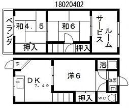[テラスハウス] 大阪府大阪市住吉区苅田2丁目 の賃貸【/】の間取り