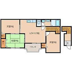 近鉄天理線 天理駅 徒歩15分の賃貸アパート 2階3LDKの間取り
