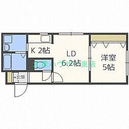 北海道札幌市東区北二十三条東13の賃貸マンションの間取り