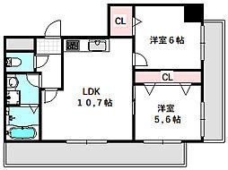 新築DHマンション 2階2LDKの間取り