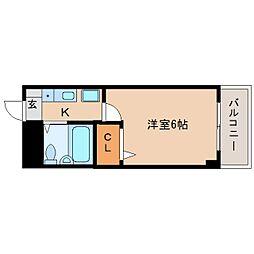近鉄奈良線 富雄駅 徒歩3分の賃貸マンション 3階1Kの間取り