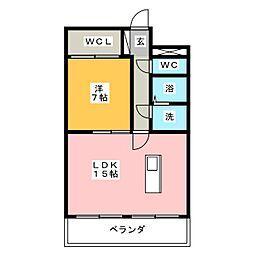 ウエストヒルズ西御堂[2階]の間取り