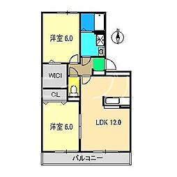 コートドール海老ノ丸 A棟[2階]の間取り