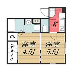 JR総武線 千葉駅 徒歩16分の賃貸アパート 1階2Kの間取り