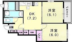 メゾンソレイユC 1階2DKの間取り