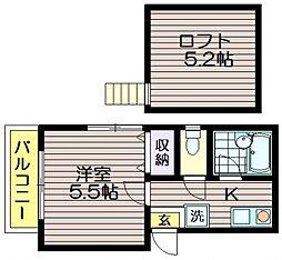 東京都三鷹市北野4の賃貸アパートの間取り