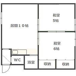 北海道札幌市南区北ノ沢5丁目の賃貸アパートの間取り