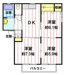 フィオーレ B棟[2階]の間取り