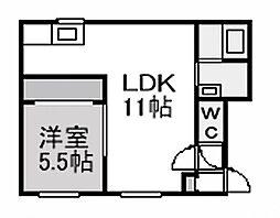 北海道札幌市豊平区美園四条3丁目の賃貸アパートの間取り