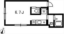 プロト西小山 3階ワンルームの間取り
