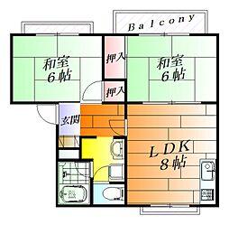 コーポ栄I[2階]の間取り