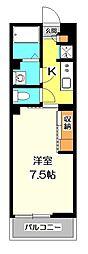 東京都国立市北1丁目の賃貸マンションの間取り