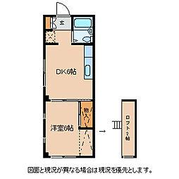 長野県諏訪市湯の脇1丁目の賃貸アパートの間取り