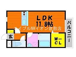 JR山陽本線 中庄駅 徒歩15分の賃貸アパート 1階1Kの間取り