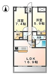 愛知県清須市土器野の賃貸マンションの間取り
