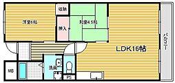 大阪府摂津市鶴野1丁目の賃貸マンションの間取り