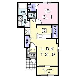 JR身延線 常永駅 4.2kmの賃貸アパート 1階1LDKの間取り