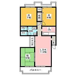 グリーンヒル若田[3階]の間取り